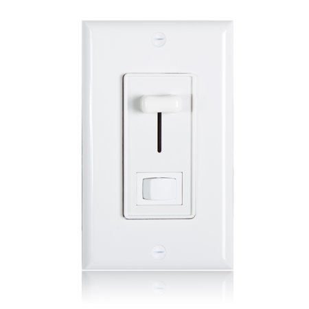 Maxxima 3-Way / Single Pole Dimmer Light Switch 600 Watt, LED Compatible, Wall Plate Included (2 Pack)