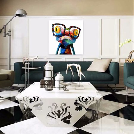 Modern Abstract Huge Wall Art Oil Painting Canvas Glasses Frog Unframed Pictures