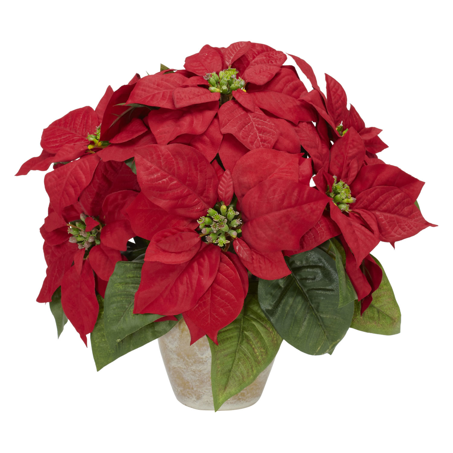 Poinsettia With Ceramic Vase Silk Flower Arrangement Walmart