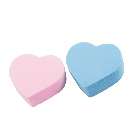 Unique Bargains 2 Pcs Makeup Remover Facial Cleaning Cotton Pads Blue Pink