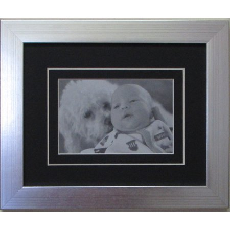 """Postcard Photo Frame for 4"""" X 6"""" Post Card/Photo Black Matting with White Trim (Brushed Silver Frame)"""