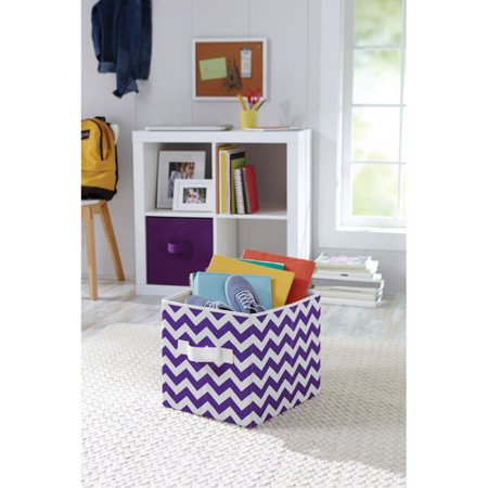 Better Homes And Gardens Purple Chevron Collapsible Fabric Bin
