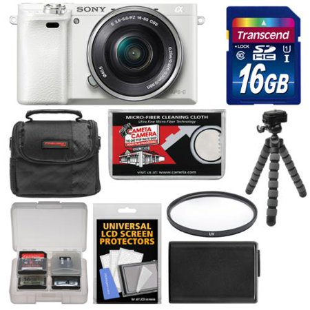 Sony Alpha A6000 Wi-Fi Digital Camera + 16-50mm Lens (White) with 16GB Card + Case + Battery + Flex Tripod + Filter