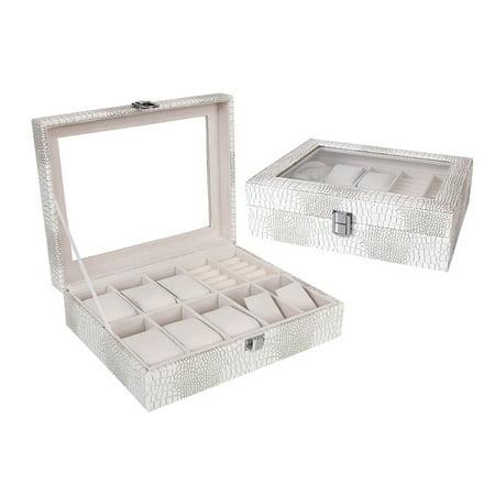 Leather Watch Box Display Case Organizer Glass Top Jewelry Storage New Presentat