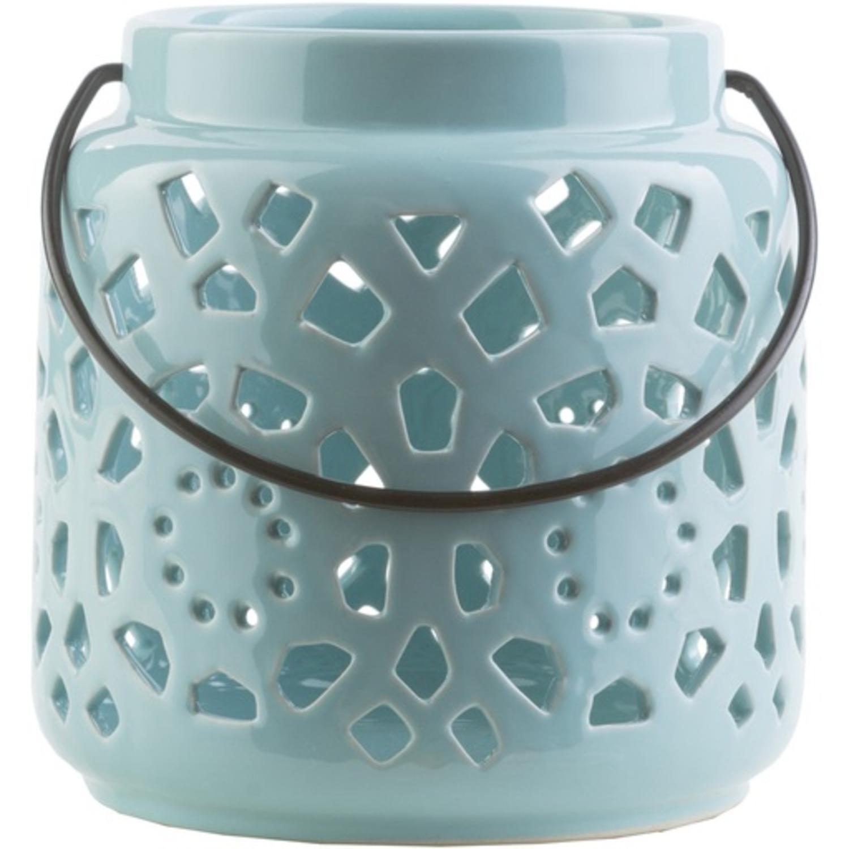 "6.5"" Madison Links Pastel Blue Ceramic Small Pillar Candle Holder Lantern"