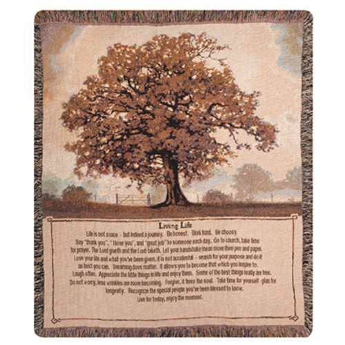 Manual Woodworkers & Weavers Living Life Tapestry Cotton Throw