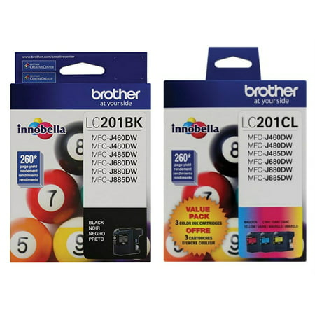- Brother Genuine LC201BK, LC201C, LC201M, LC201Y Ink Cartridge 4-Color Set -- Black, Cyan, Magenta, Yellow