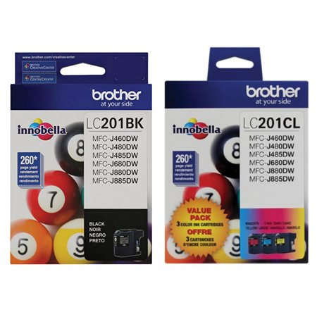 Brother Genuine LC201BK, LC201C, LC201M, LC201Y Ink Cartridge 4-Color Set -- Black, Cyan, Magenta, Yellow ()