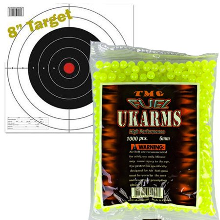 NEON GREEN 1,000 AIRSOFT BBs Pellets 6mm .12g BB For Pistol Gun Rifle AMMO + Target
