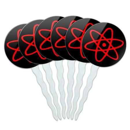 Atomic Symbol Red Black Cupcake Picks Toppers - Set of 6
