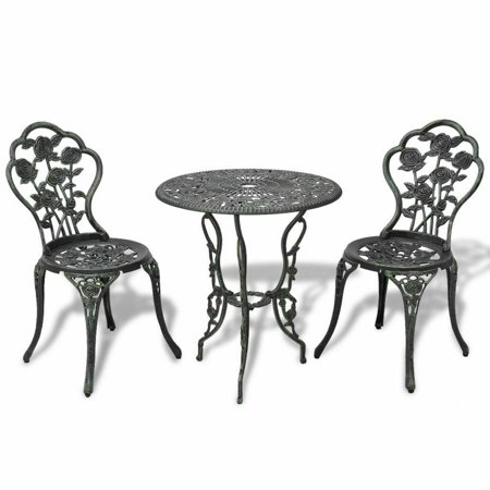Bistro Design - GHP Antique Finish Aluminum Rose Design Chairs & Table w Umbrella Hole Bistro Set