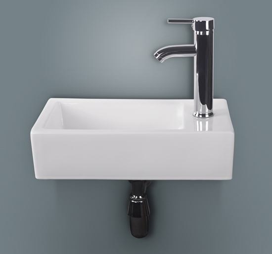 Rectangular White Porcelain Wall Mount Bathroom Vessel Sink Vanity Chrome  Faucet