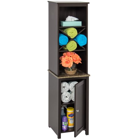 - Best Choice Products Wooden Bathroom Space Saving Standing Tall Floor Tower Storage Cabinet Organizer w/ Faux-Slate Adjustable Shelves - Brown