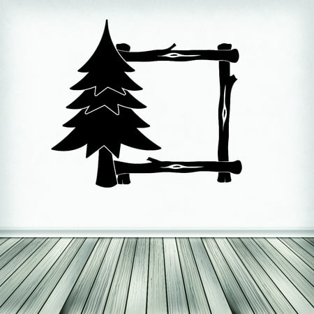 Custom Wall Decal Sticker : Tree Frame Log Cabin 16x24 Inches