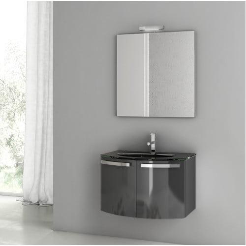 """Image of ACF Bathroom Vanities Crystal Dance 27.6"""" Single Bathroom Vanity Set with Mirror"""