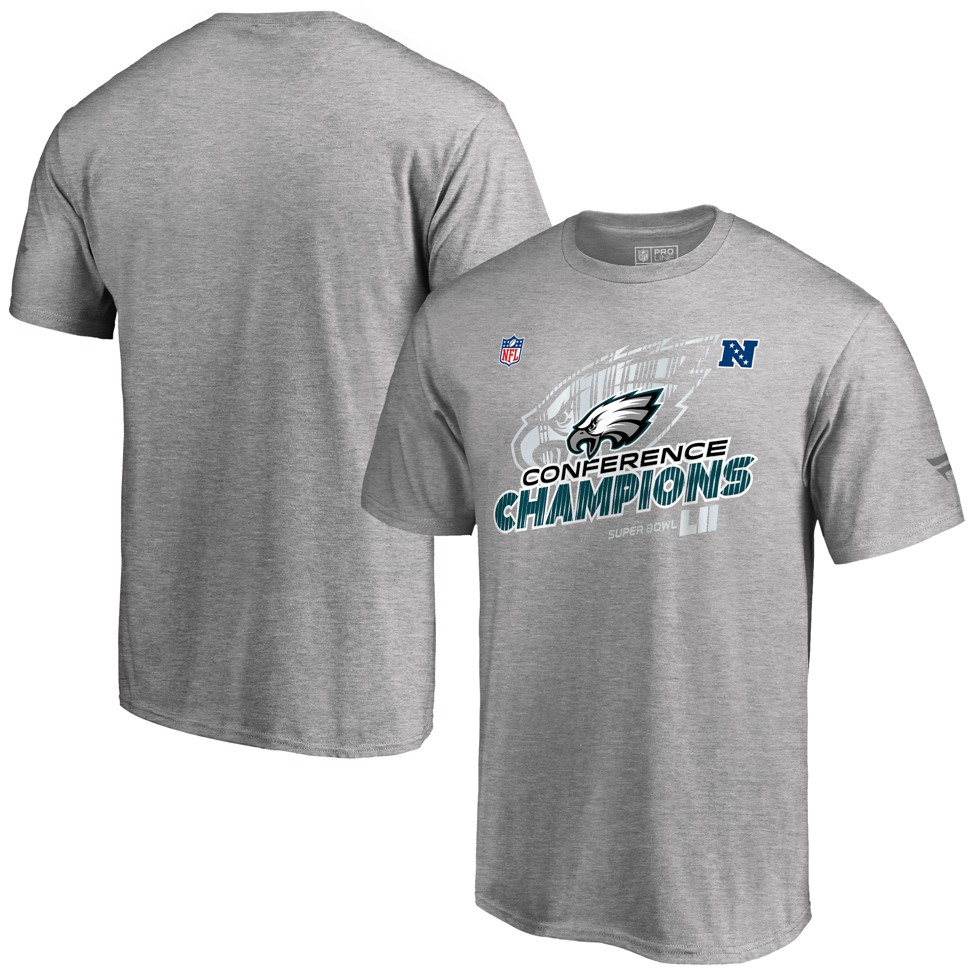 Philadelphia Eagles NFL Pro Line by Fanatics Branded 2017 NFC Champions Trophy Collection Locker Room Big & Tall T-Shirt - Heather Gray