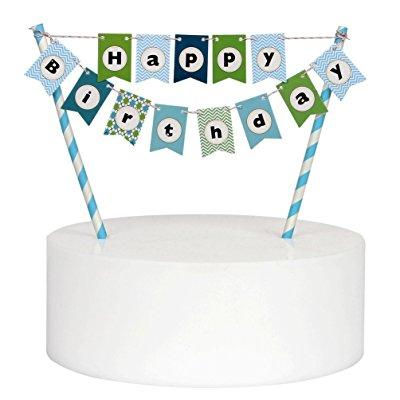 Mini Happy Birthday Cake Bunting Banner Cake Topper Multicolor