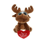 DolliBu Big Eye Moose I Love You Message Stuffed Animal 6 Inch, Valentines Day Gifts For Boyfriend or Girlfriend, Cute Teddy Bear with Heart Plush Toy for Friend, Romantic Anniversary & Valentine Gift