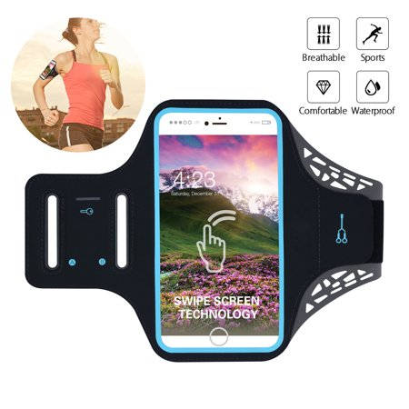 Water Resistant Cell Phone Armband, 6 Inch Case - Adjustable Reflective Workout Band, Key Holder & Screen Touch - for iPhone X, 8, 7, and Samsung Galaxy S9, S8, Note 8, Google Pixel