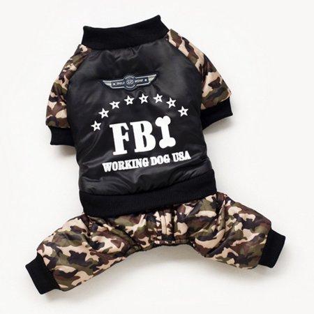 Dog Four Leg Dress Coat FBI-Printing Letter Camouflage Jumpsuit Cotton Coat - image 1 de 7