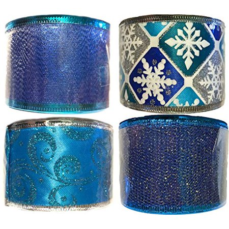 Blue Collection Wire Edge Ribbon (Set of 4)