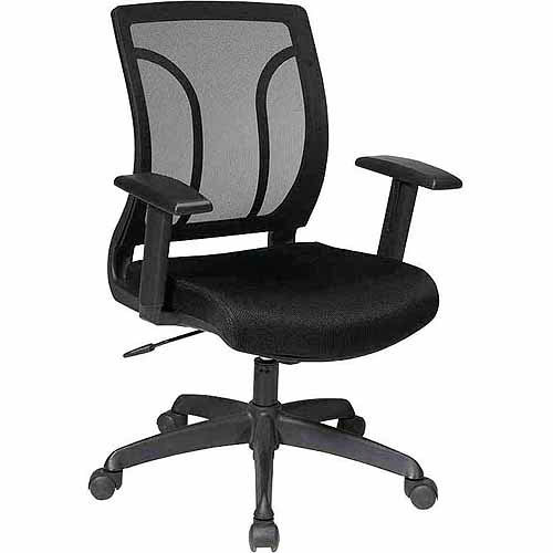 Office Star Work Smart Screen-Back Chair with Mesh Seat and Height Adjustable Arms, Black