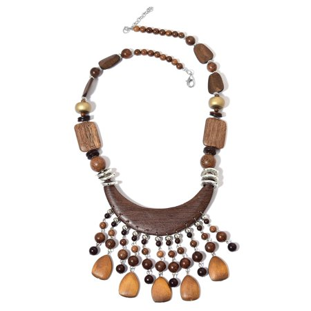 Shop LC Resin Wooden Strand Silvertone Collar Necklace for Women Jewelry Gift 27