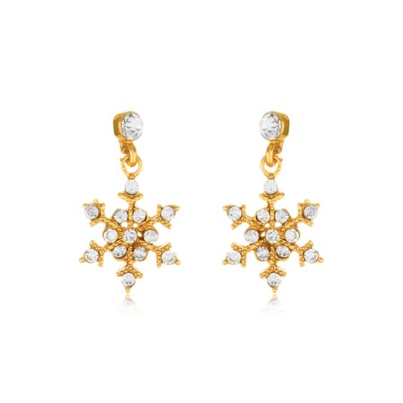 Gold Polished Cross Dangle - Gold Tone Polished Crystal Snowflakes Dangle Earrings