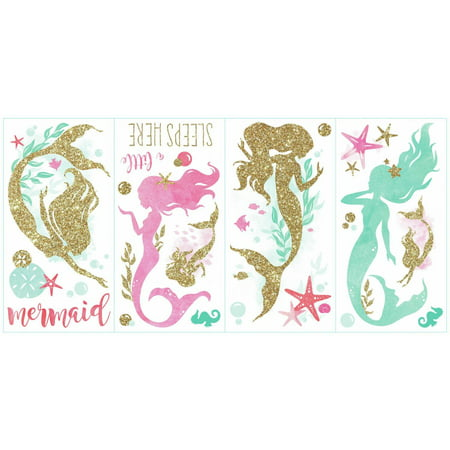 Mermaid Peel and Stick Wall Decals with Glitter (Mermaid Wall Decals For Nursery)