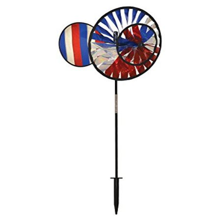 Patriotic Wind Spinners (In the Breeze Double Wheel Patriotic Sparkle Spinner with Wind)