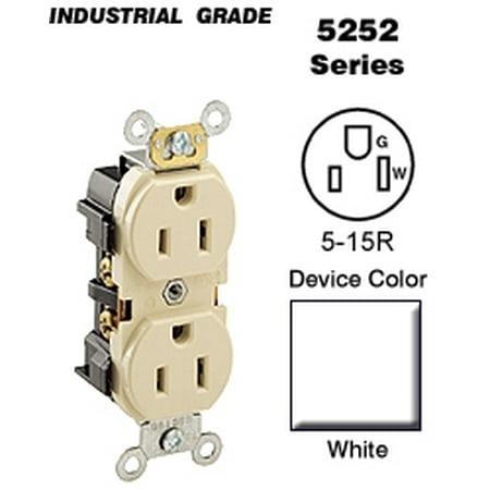 Leviton 5252-W Duplex Receptacle Industrial Grade 5-15R 15A 125V ...