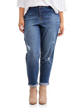 Product Image Women s Plus Size Roll Cuff Girlfriend Jean with Light  Destruction 8845f274e