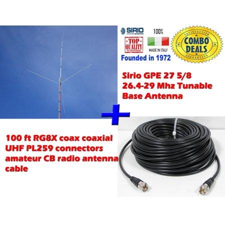 Sirio Engine - Sirio GPE 27 5/8 26.4-29 Mhz Tunable Base Antenna with 100Ft RG8x Mini Coax