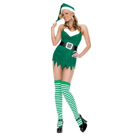 3 Piece Miss Elf Costume (Green, S/M) - Famous Groups Of Three Costumes