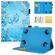 6.5 - 7.5 Universal Tablet Cover, Allytech PU Leather Wallet Case Smart Stand Cover for Samsung Galaxy Tab E Tab 3 Tab A 7.0/ Kindle Fire 7.0/ Huawei Lenovo Tab/ Google and More, Diamond Butterfly