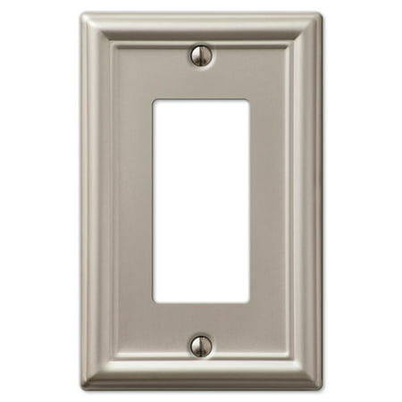 Single GFCI Rocker 1-Gang Decora Wall Switch Plate, Brushed Nickel