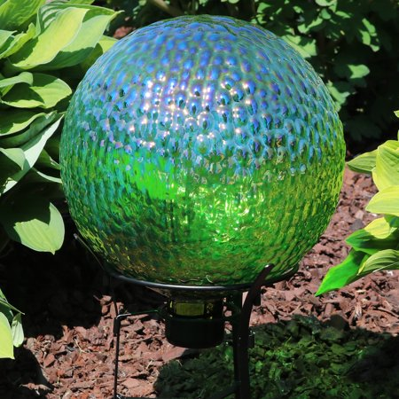 Zombie Lawn Ornaments (Sunnydaze Green Textured Gazing Globe Glass Garden Ball, Outdoor Lawn and Yard Ornament,)