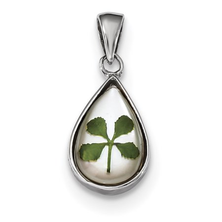 925 Sterling Silver Plat. Plated Leaf Clover Epoxy Sea Shell Mermaid Nautical Jewelry Tear Drop Pendant Charm Necklace Good Luck Italian Horn Gifts For Women For Her