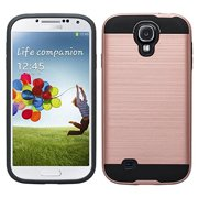 Galaxy S4 Case, Slim Hybrid Dual Layered [Shock Resistant] Case Cover for Samsung Galaxy S4 - Brush Rose Gold