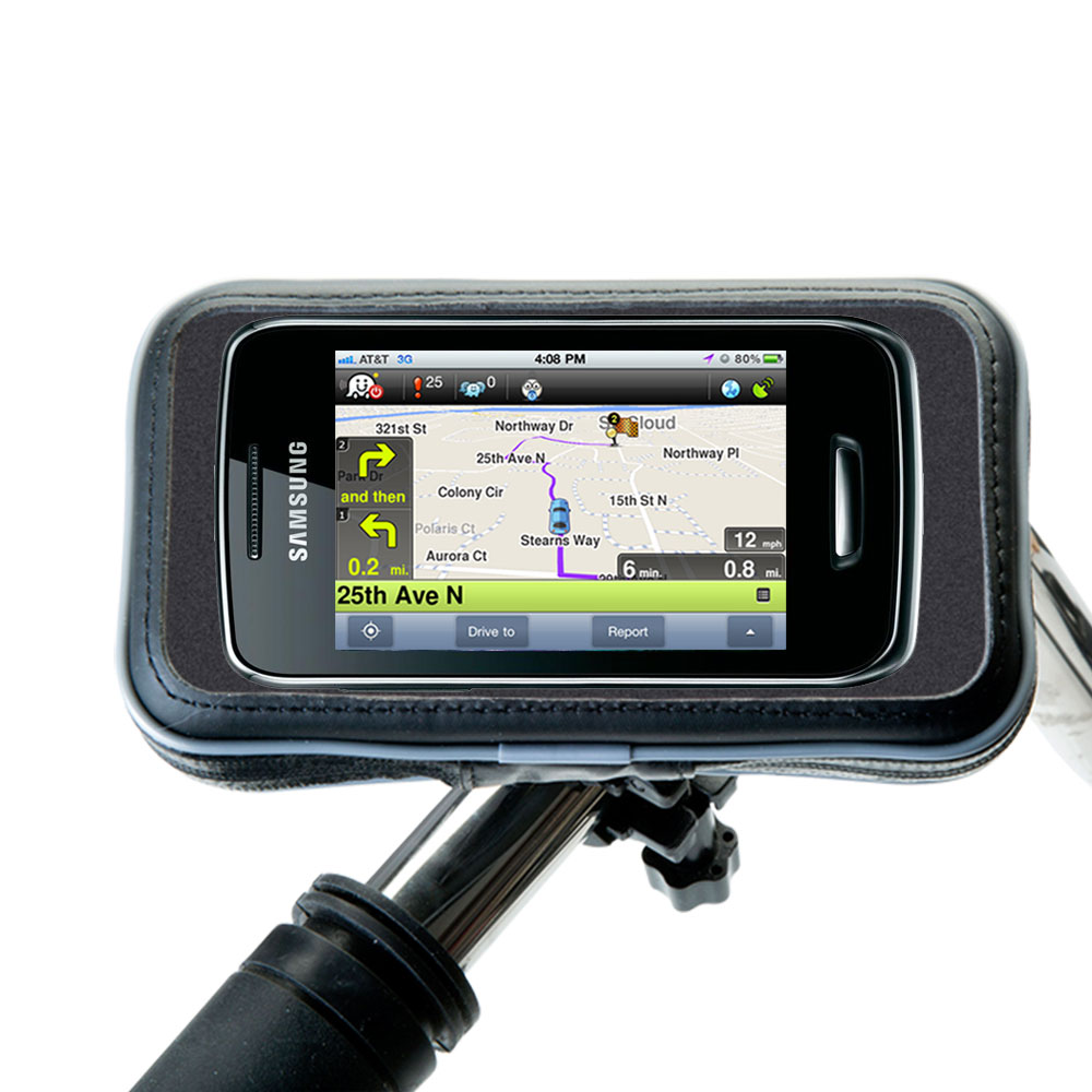 Gomadic Heavy Duty Weather Resistant Bicycle  /  Motorcycle Handlebar Mount Holder Designed For The Samsung Wave Y