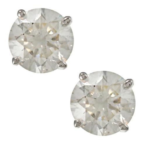 Auriya 18K Gold 1ct TDW Clarity-Enhanced Round Diamond Stud Earrings (E-F, G, H-I, J-K / VS1-VS2, SI1-SI2, I1-I2, I3) E-F, I3 - White Gold
