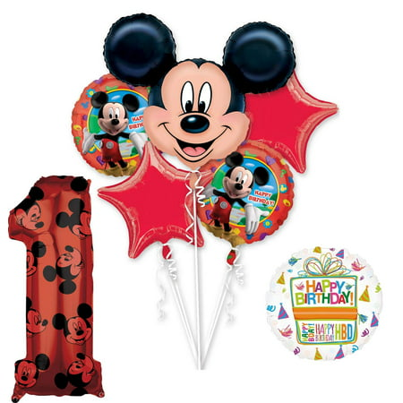 Mickey Mouse 1st Birthday Party Decorations (Mickey Mouse Party Supplies 1st Birthday Clubhouse Balloon Bouquet)