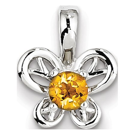 Leslies Fine Jewelry Designer 925 Sterling Silver Rhodium-plated Citrine (11x13mm) Pendant Gift