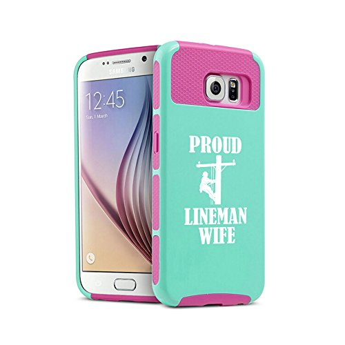 For Samsung Galaxy S7 Shockproof Impact Hard Soft Case Cover Proud Lineman Wife (Teal-Hot Pink)