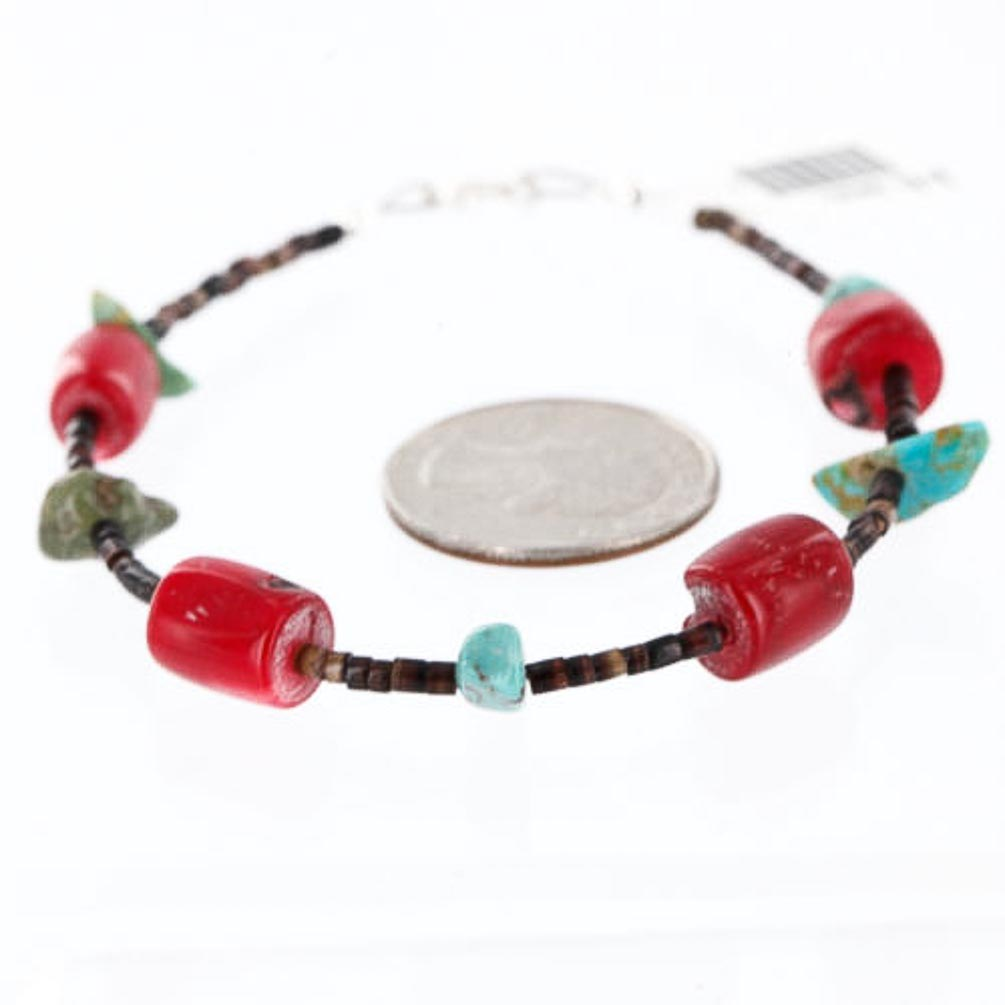 80 Retail Tag Authentic Made by Charlene Little Navajo 92 Turquoise Coral Native American Bracelet by