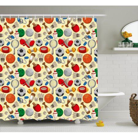 Sport Shower Curtain Cartoon Drawing Style Sporting Goods Balls Bowling Tennis Ping Pong Boxing Football