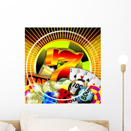 - Casino Illustration Wall Mural Decal by Wallmonkeys Vinyl Peel and Stick Graphic (18 in H x 18 in W)