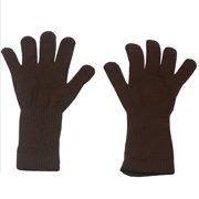 Brown Plain Color Medium Length Ribbed Cuff Gloves