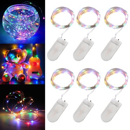 6-pack 20 LEDs Battery Operated Waterproof Fairy String Lights Starry Rope Copper Wire Lamps Cold White/Multi-color/Warm (Fairy String)