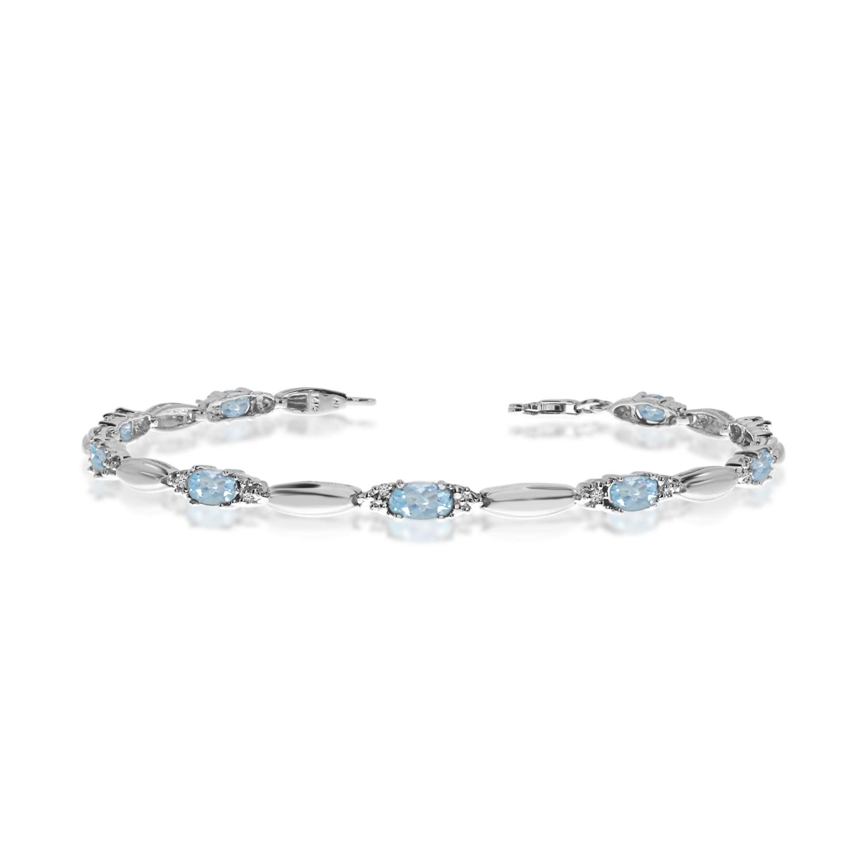 10K White Gold Oval Aquamarine and Diamond Bracelet by